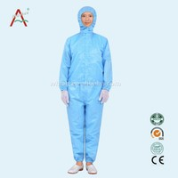 Washable antistatic overalls 5.5mm strip cleanroom suit 2.5mm*2.5mm grid polyster fabric ESD cleanroom coverall