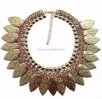 Newest design gold necklace Alloy leaves necklace N2013