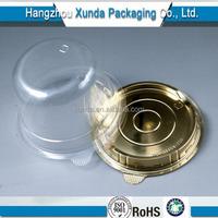 Round golden base plastic cake box