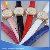 Elegance stainless steel 316L OEM japan quartz movt genuine leather band diamond lady watch