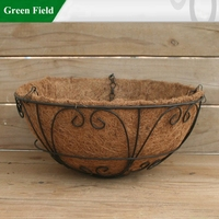 Green Field Metal Garden Hanging Planter Flower Pots With Coco Liner