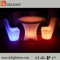 Decoration glowing up color changing round table with casters