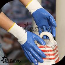 SRSAFETY 13 gauge seamless Nylon glove coated with smooth Nitrile gloves