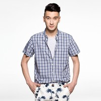2015 new innovative products short sleeve plaid wholesale bamboo shirts for man