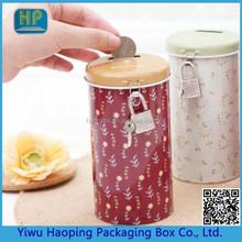 Tall round Piggy bank Creative Floral round money tin cans storage cartridge lock box