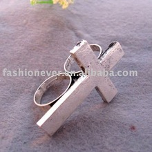 Double Finger Metal Cross Ring Vintage Cross Two Fingers Ring Jewelry