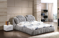 New Design Modern Fabric Double Bed