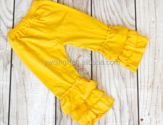 MUSTARD Ruffle pants capris  Boutique ruffle leggings Baby Toddler Little Girl Ruffle Bottoms.jpg