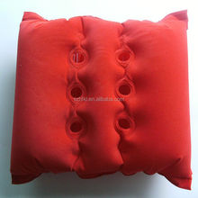 special comfortable inflatable car neck pillow with ear hole, red square neck pillow