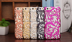 New design classic flower pattern plating skeleton radiating PC mobile phone case cover for iphone 5 5s 6 6s CO-PC-3012