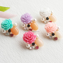 Fabulous Silicone Rose ivory Pearl Metal Rhinestone Button For Coats