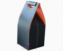 fashion faux leather wine carrier for wine packaging