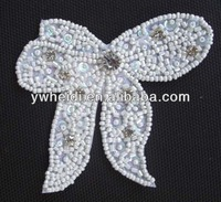 white felt with beads crystal rhinestone bow for cloth and hair
