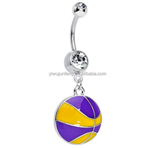 Clear Gem Yellow and Purple Dribble the Basketball Navel Piercing Jewelry navel rings india