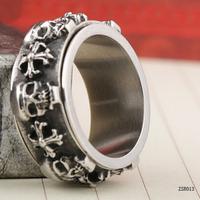Vogue Skull Head And Cross 316L Biker Punk Men Stainless Steel Ring for Bulk Wholesale