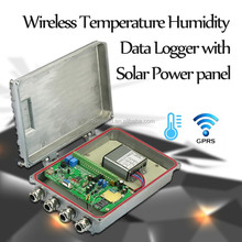 Promotional silvery Wireless Temperature Humidity Data Logger with Solar Power panel
