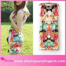 china al por mayor sexy multicolores dulce floral vestido estampado de fotos que muestra las mujeres todo lo