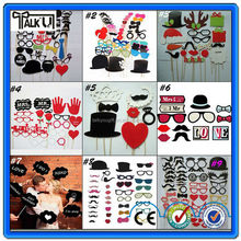 High Quality DIY Photo Booth Props Hat Mustache On A Stick Wedding Birthday party fun favor