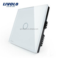 Hot High Quality Livolo Ivory Glass Smart Touch Switch Panel Single Control Home Light