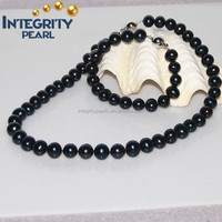 9-10mm Near Round Pearl Necklace Set Designs PJS065