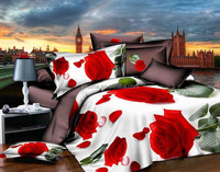 unique bed covers red floral new bed sheet design 5d wedding bedding set