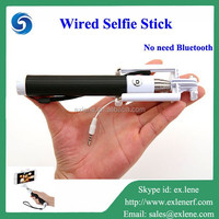 2015 wholesale monopod Selfie Stick With Cable For Samsung Apple