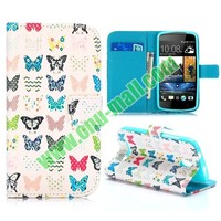 Colorful Flower Design Flip Leather Case for HTC Desire 500