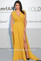 kim kardashian Yellow Formal Dress amfAR's Cinema Against Aids Gala