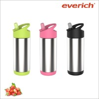 300/600ml double wall stainless steel water bottle for kids with straw lid