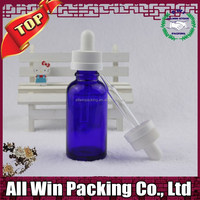 30ml blue round essential Oil Bottles for cosmetic packaging with white childproof cap
