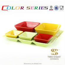 Wholesale restaurant enamelware, square bisque ceramic serving set