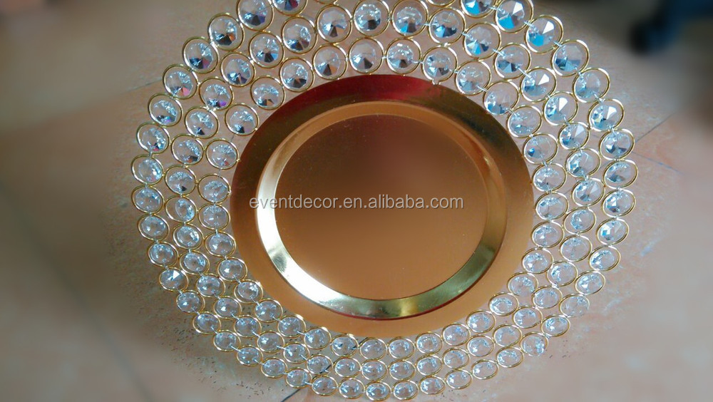 wedding siler gold glass beaded charger plates wholesale view charger plate ouge product