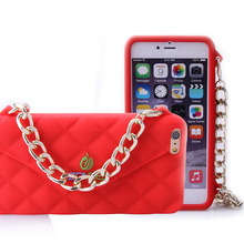 new design 3d silicone phone case with chain