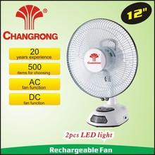 12 volt ac/dc fan with LED light 6V 4.5Ah battery