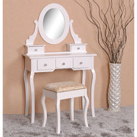 2015 hot-sale bedroom furniture wood dressing table white vanity table with mirror and stool