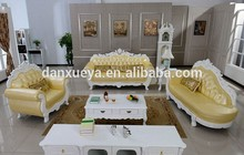 Yellow leather sofa,classical french antique sofa,luxury hand carved sofa set