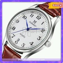 Red Leather Japan Movt Quartz Watch Stainless Steel Back For Men And Lady
