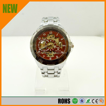 Fashion watches red dial bilateral buckle, alloy, folding, mechanical men's watch