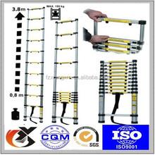 New listing 3.8M Platform Multi-Purpose Telescoping Ladder aluminum EN131