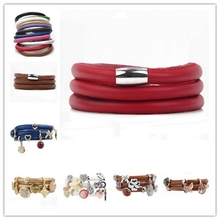 Pu leather cord magnet buckle charm bracelet DIY additional charm logo fashin jewelry
