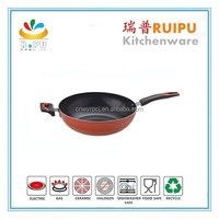 new design red induction wok pan cast iron wok