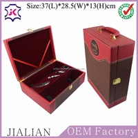 Best sell classical handmade leather wine box