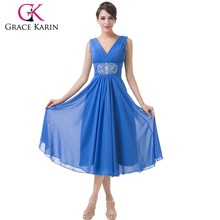 New design of Grace Karin Ladies Sleeveless V-Neck Knee Length Blue Chiffon Sexy Mother of The Bride Dresses 2015 CL6269