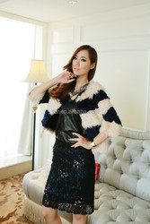 2015 Gorgeous Design Lamb Fur And Shearing Striped Rex Rabbit Fur Short Coat Posh Style