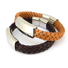 stainless steel leather bracelets for men