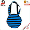 blue&black stripe fashion tote cosmetic bag for traveling