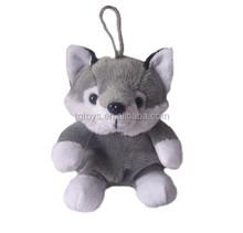 12cm keychain toys forest animals small grey fox plush toys