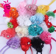 2015 children's Chiffon fabric flower headdress baby girl rhinestone headbands elastic hairband Infant hair accessorie