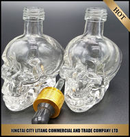 eliquid paper tube packaging/food grade essential oil skull glass dropper bottle with childproof cap 60ml