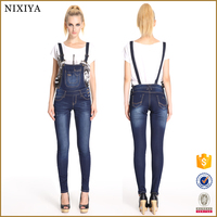 Elegant Women's Washed Casual Straps Jumpsuit Romper Overall Jeans Frayed Denim Pant plus size